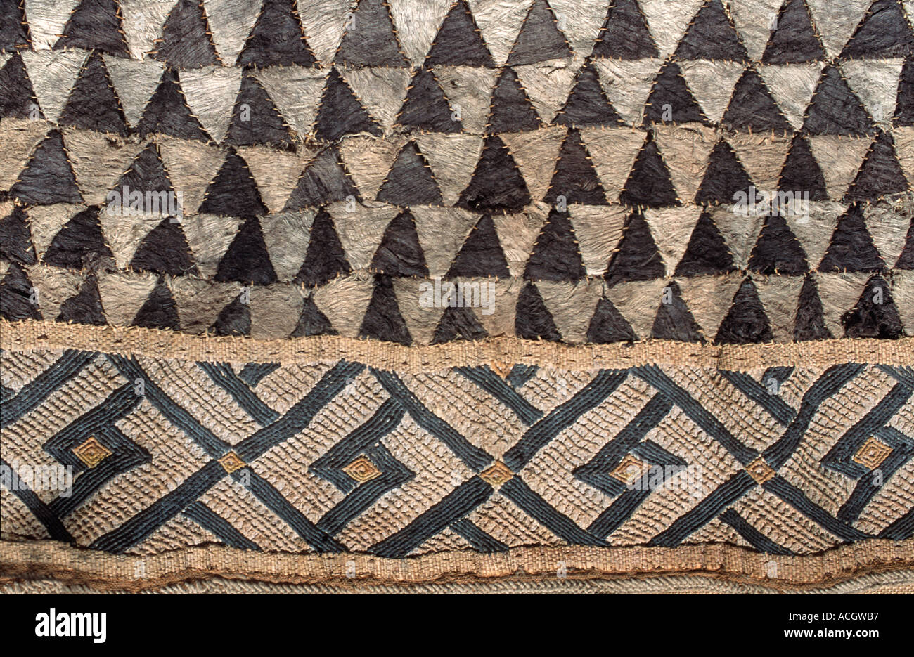 Woven raffia textile from The Democratic Republic of Congo DRC formerly known as Zaire Kuba tribe Applique decoration - Stock Image