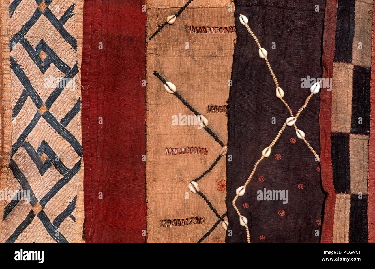 A selection of woven raffia textile from The Democratic Republic of Congo DRC formerly known as Zaire From the Kuba tribe - Stock Image