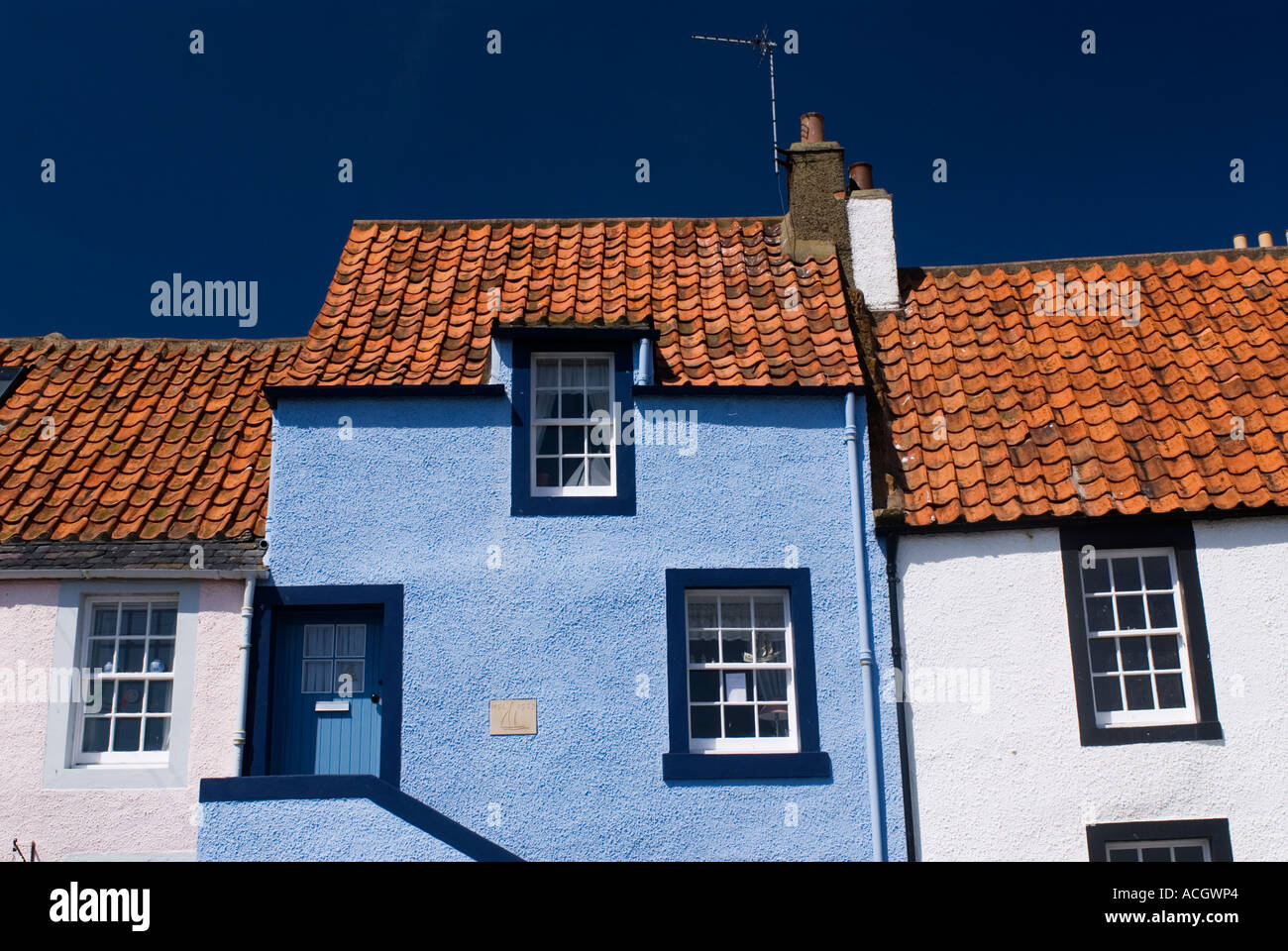 detail of old traditional fishermens houses in St Monans in East Neuk of Fife in Scotland Stock Photo