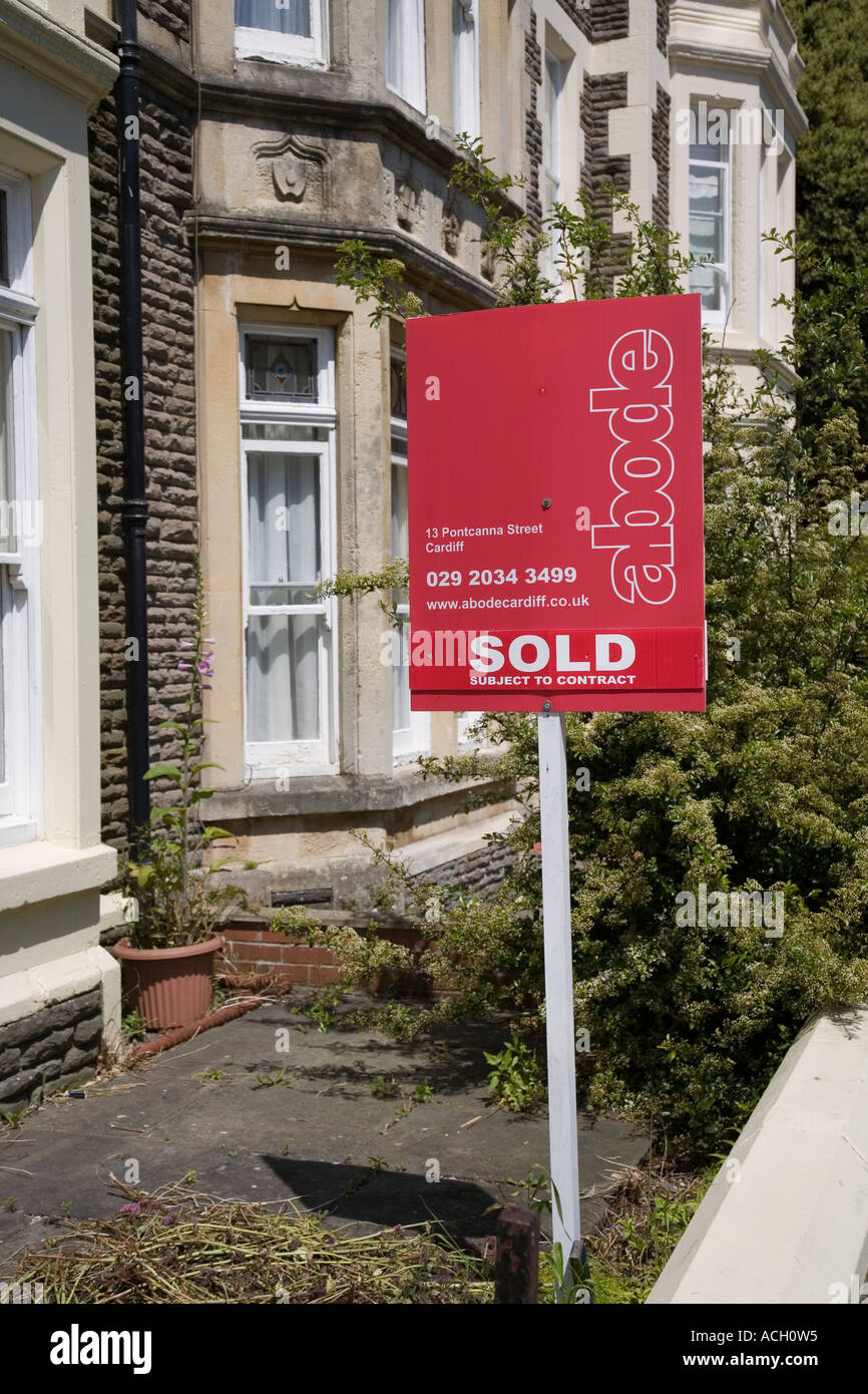 Sold estate agent sign on house Cardiff Wales UK - Stock Image