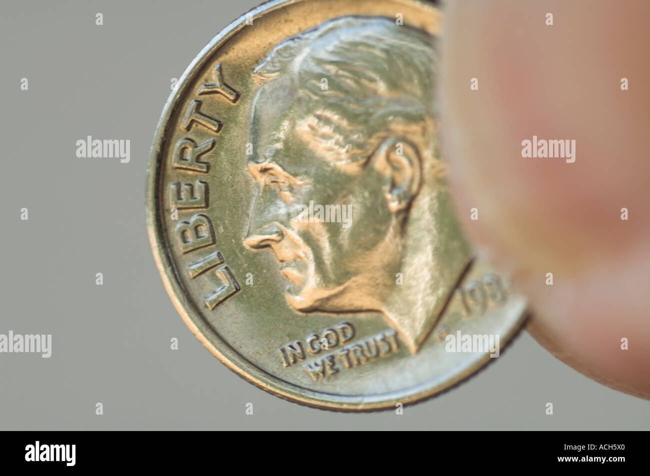 extreme closeup of United States dime coin - Stock Image