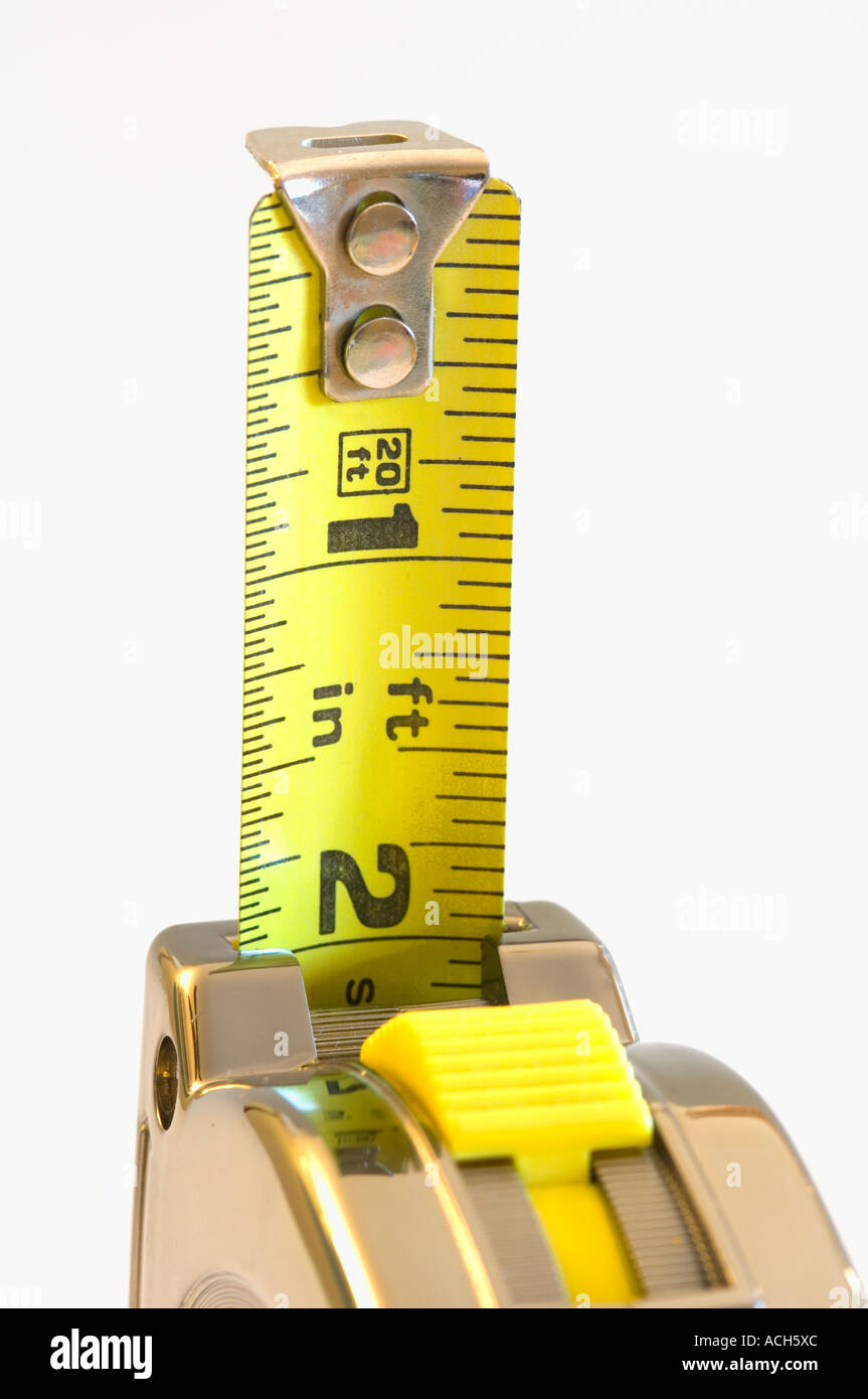 retractable metal tape measure - Stock Image