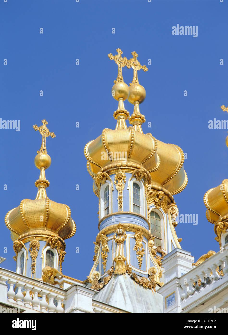 Cupolas of the Royal Chapel Catherine Palace Pushkin Russia Europe - Stock Image