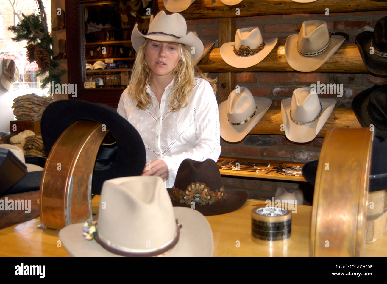 Shop selling cowboy hats in Aspen Colorado USA North America Stock ... 58985f46d07