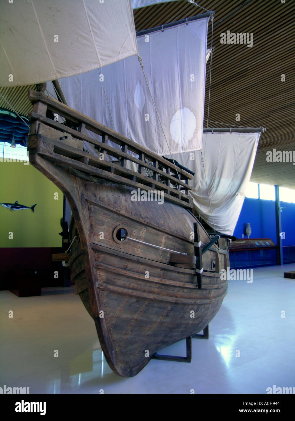 Replica of Magellan s ship Sanlucar de Barrameda Andalucia Andalusia Spain Europe - Stock Image