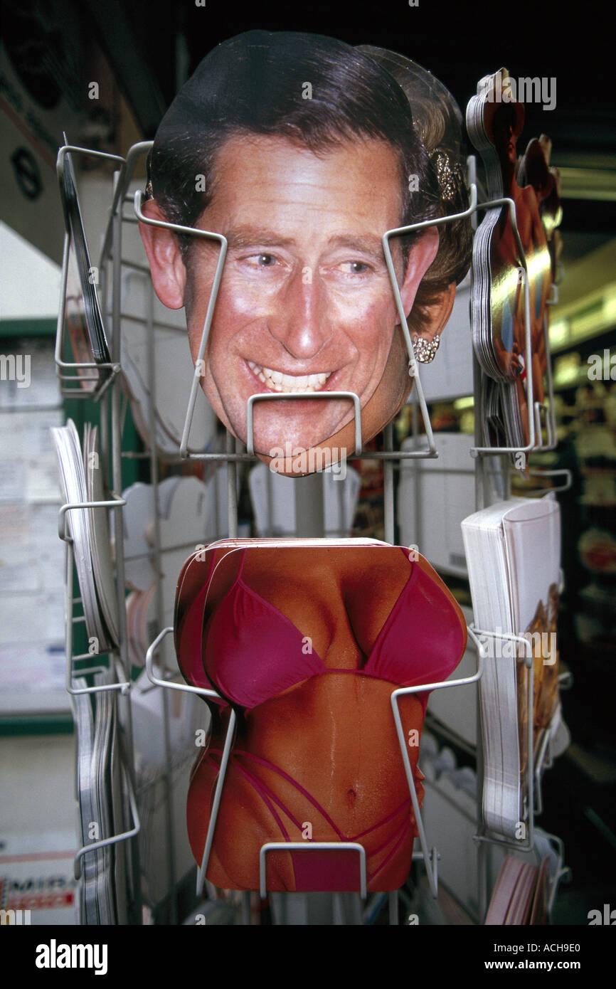 Postcards of Prince Charles and woman s body in bikini London England UK Europe - Stock Image