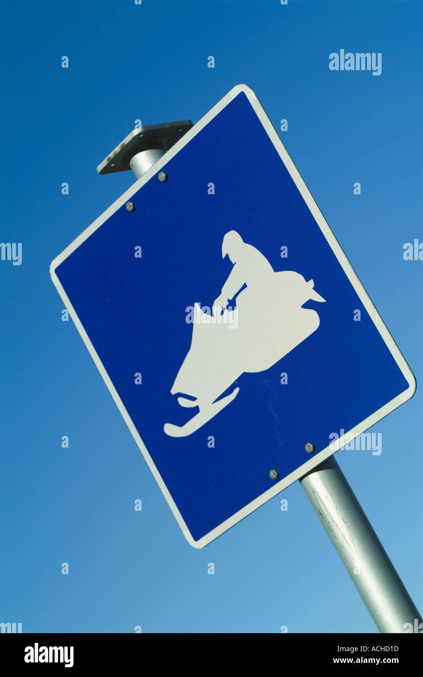 Snowmobile sign - Stock Image