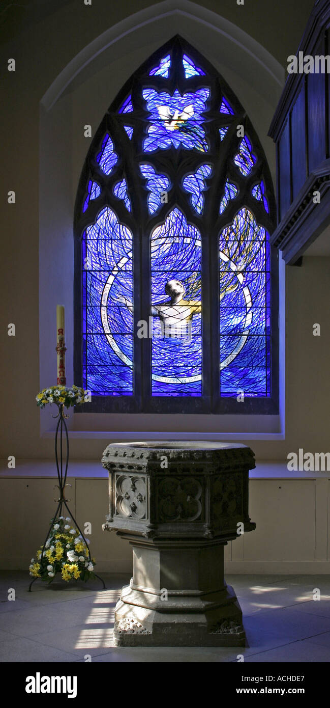 Image of: Modern Blue Stained Glass Window In St Edward The Confessor Church Stock Photo Alamy