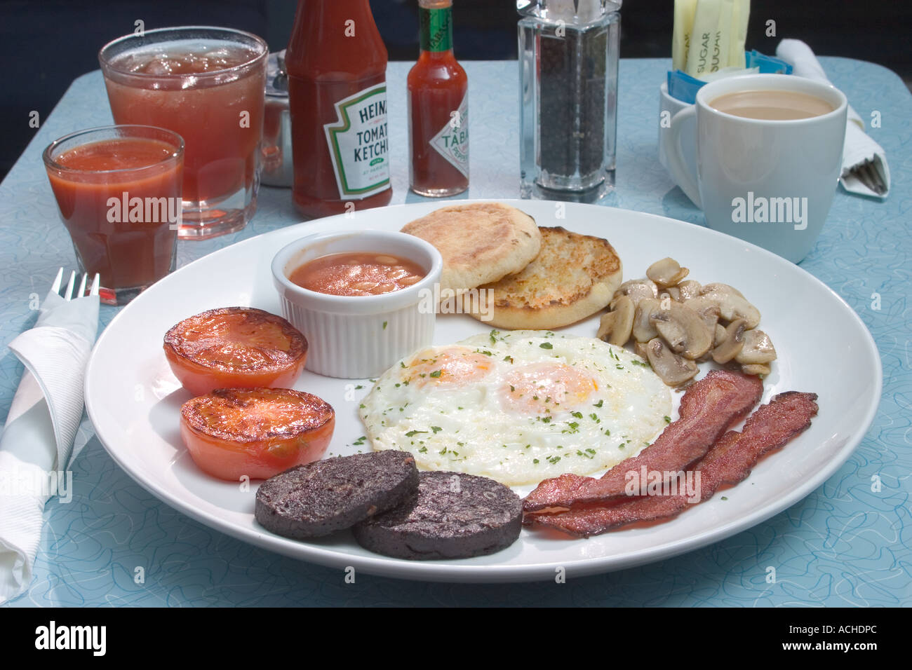 Bacon Fried Eggs black pudding grilled tomato mushrooms baked beans full english breakfast coffee juice table setting & Bacon Fried Eggs black pudding grilled tomato mushrooms baked beans ...
