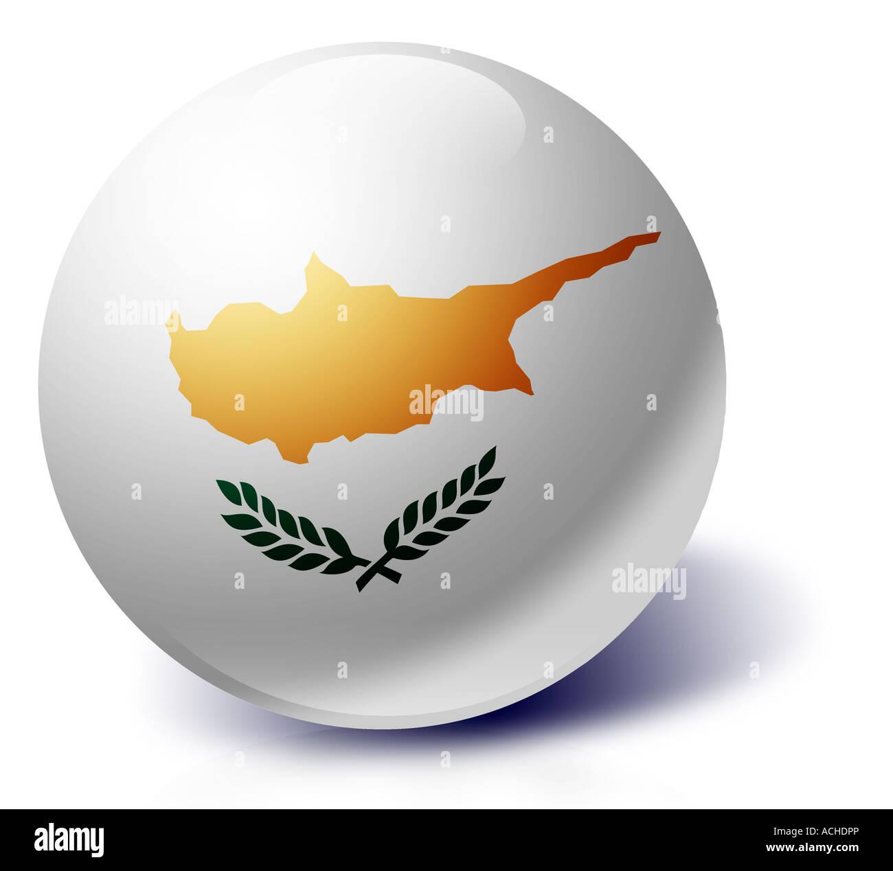 Cyprus flag as a glass ball - Stock Image