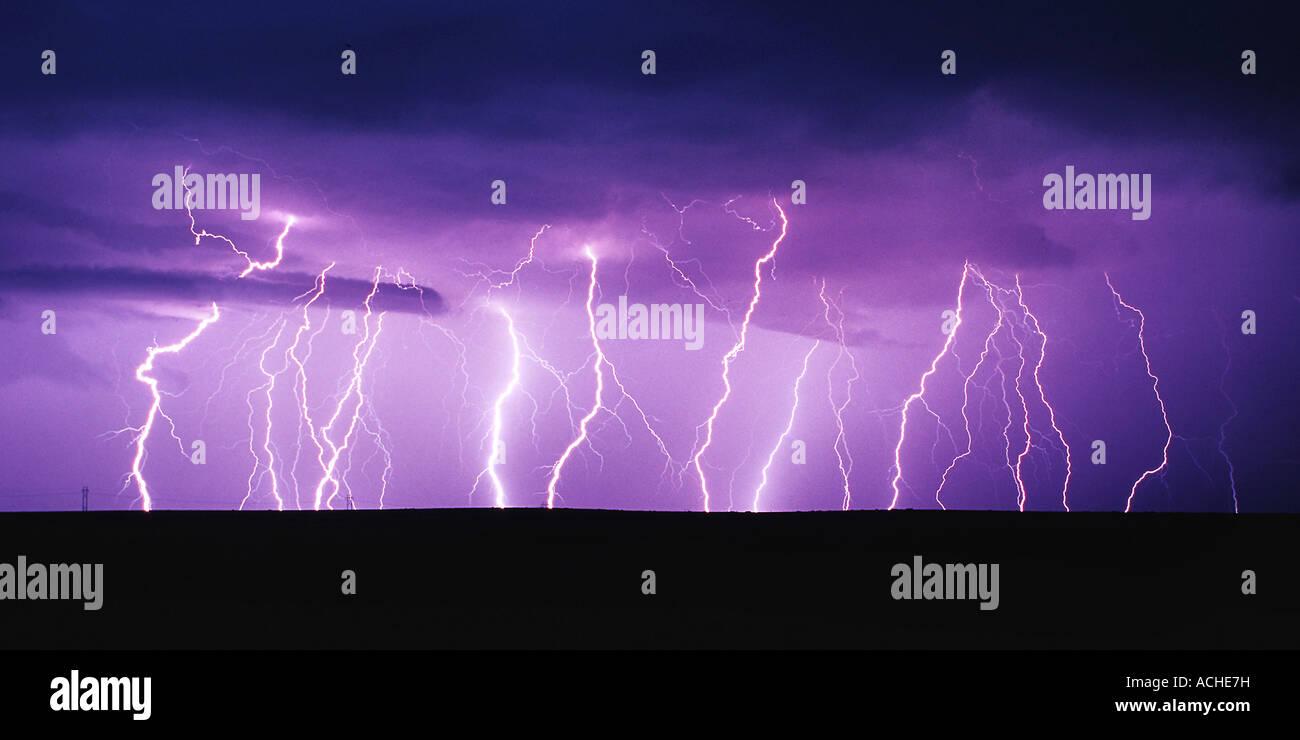 Lightning Panorama Stock Photo