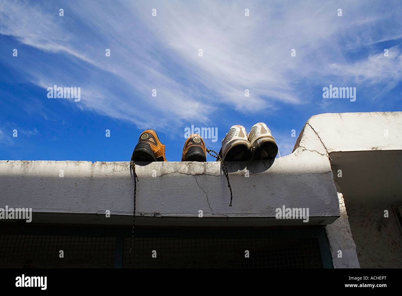 Drying off tennis Shoes - Stock Image