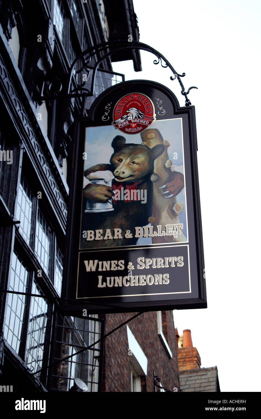 Bear and Billet pub sign, Chester - Stock Image