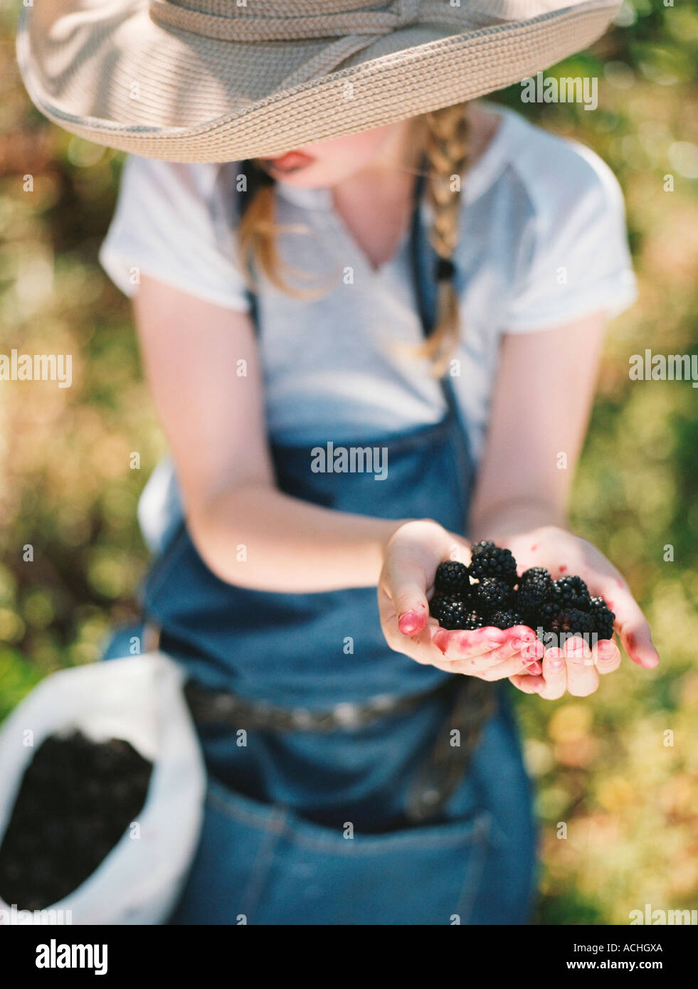 Young girl licks her lips as she shows off wild blackberries she has picked. - Stock Image