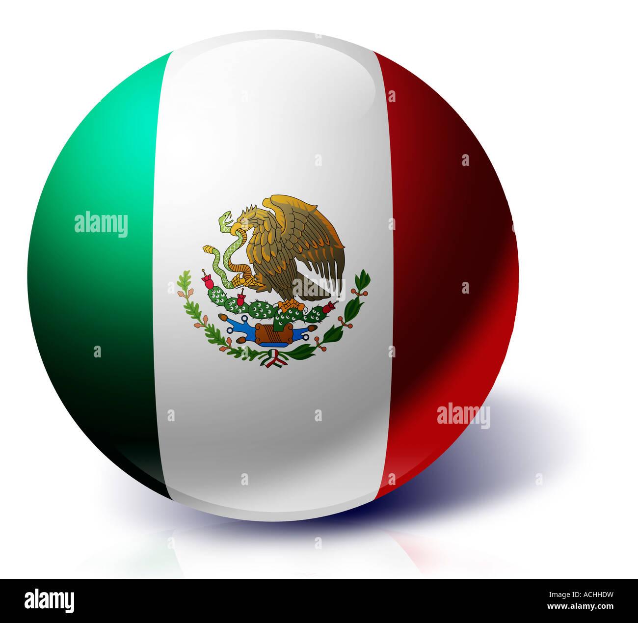 Mexico flag as a glass ball Cedar of Lebanon - Stock Image