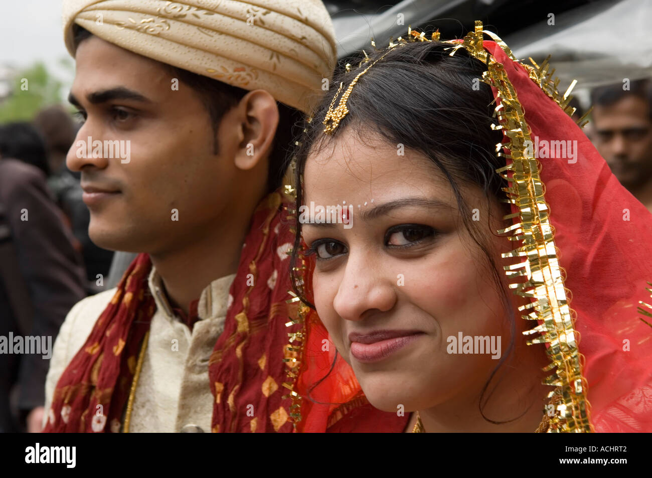 Young bangladeshi couple getting married stock image