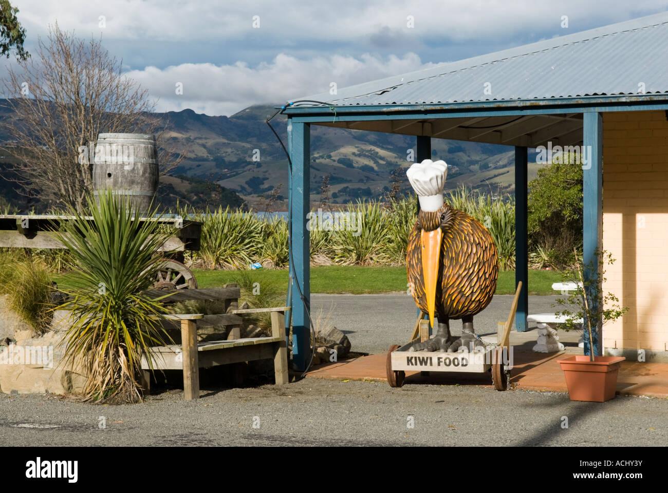 Kiwi food sign at the Duvauchelle Hotel in Duvauchelle near Akaroa New Zealand - Stock Image