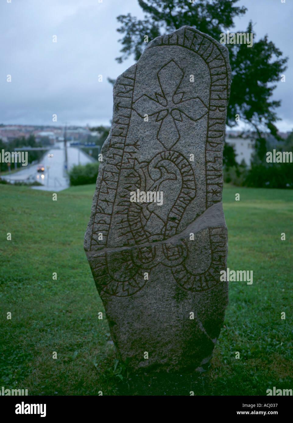 Most northerly rune stone in Sweden; on island of Frösön, Östersund, Jämtland, northern Sweden. - Stock Image