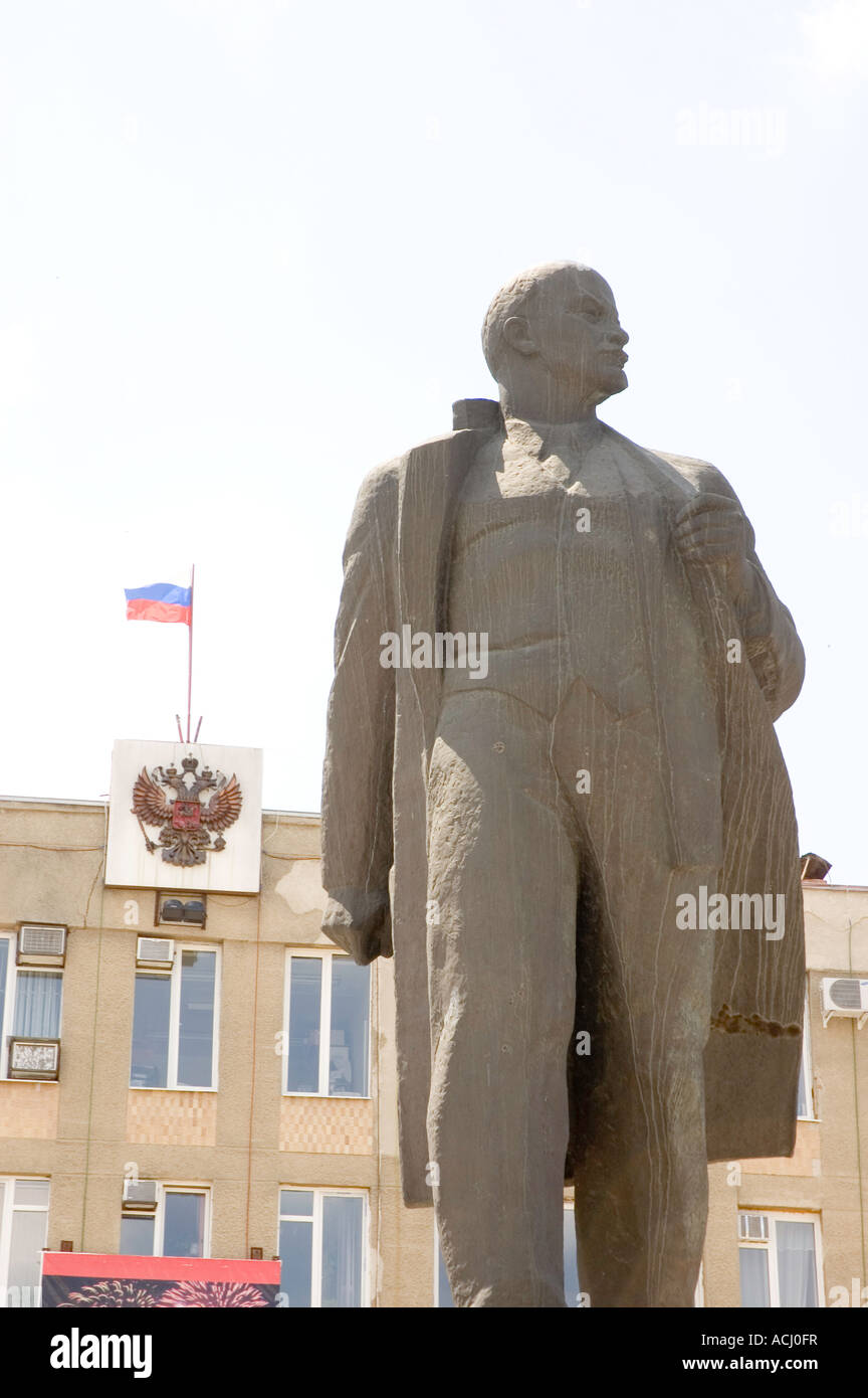 statue to former Bolshevik leader Lenin in the main square in Georgievsk South Western Russia - Stock Image