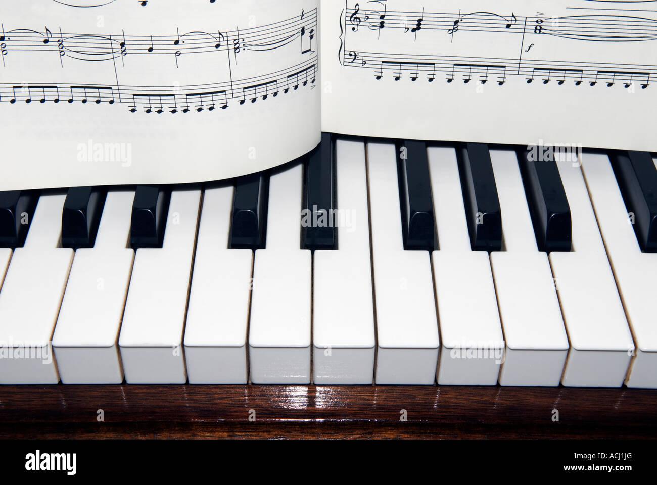 Piano Keyboard Keys And Sheet Music Spread Across The Keys Stock