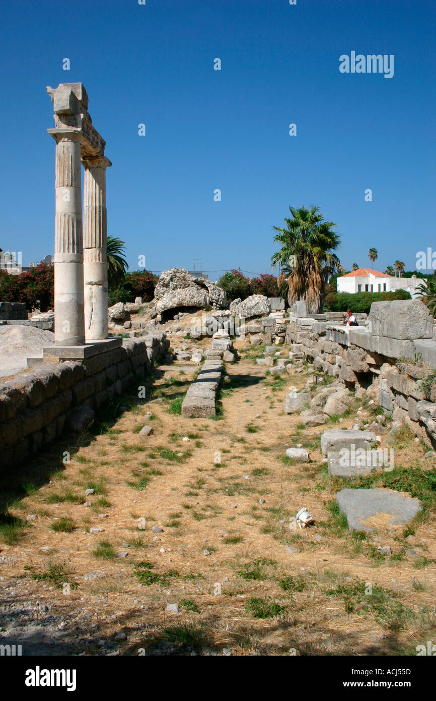The ancient Agora Market entrance in Kos town on the Greek island of Kos in the Aegean. Stock Photo