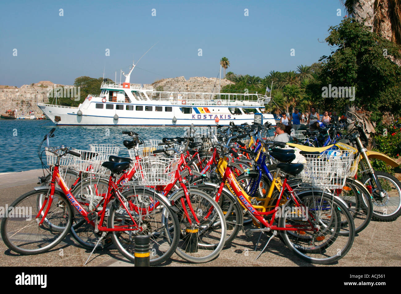 Bicycles parked along the water front of Kos town on the Greek island of Kos - Stock Image