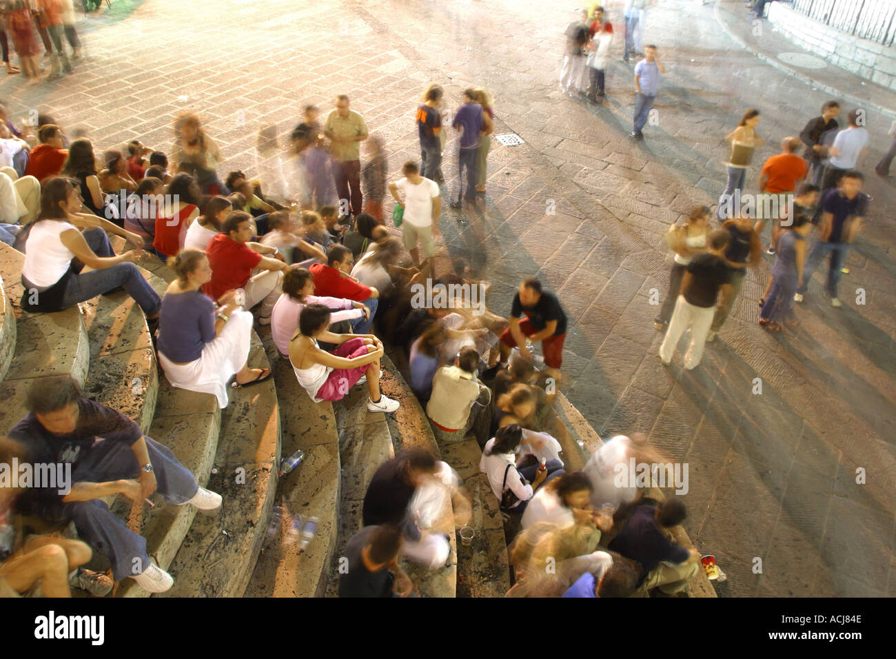 People milling about during the Umbria Jazz festival in Perugia Umbria Italy - Stock Image
