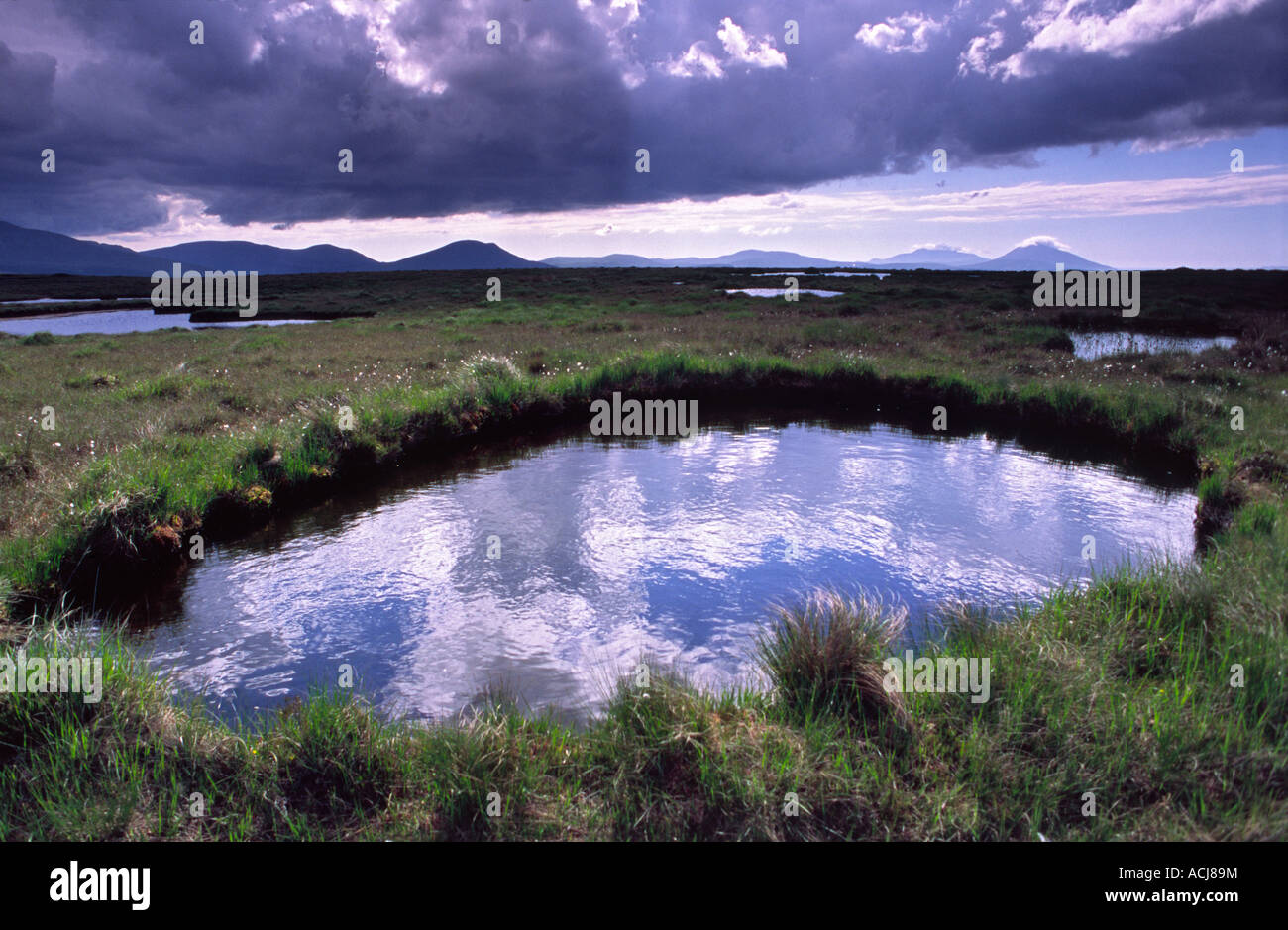 Sky reflected in a bog pool beneath the Nephin Beg Mountains, County Mayo, Ireland. - Stock Image