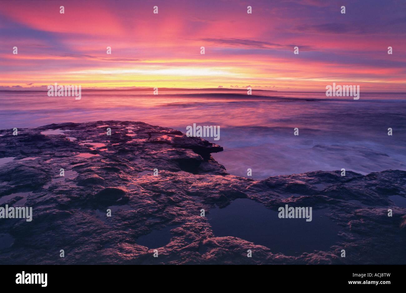Sunset over the shore of Killala Bay, Co Sligo, Ireland. - Stock Image