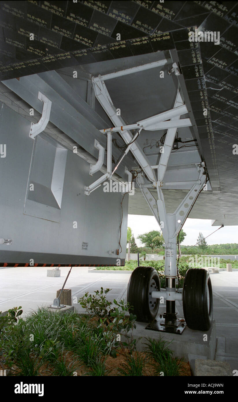 Space shuttle exhibit close up of undercarriage and tiles at Kennedy Space Center in Florida USA - Stock Image
