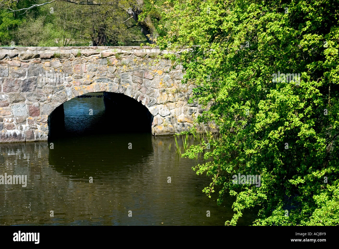 Old stone bridge Frederiksborg Royal Castle hilleroed Zealand Denmark - Stock Image