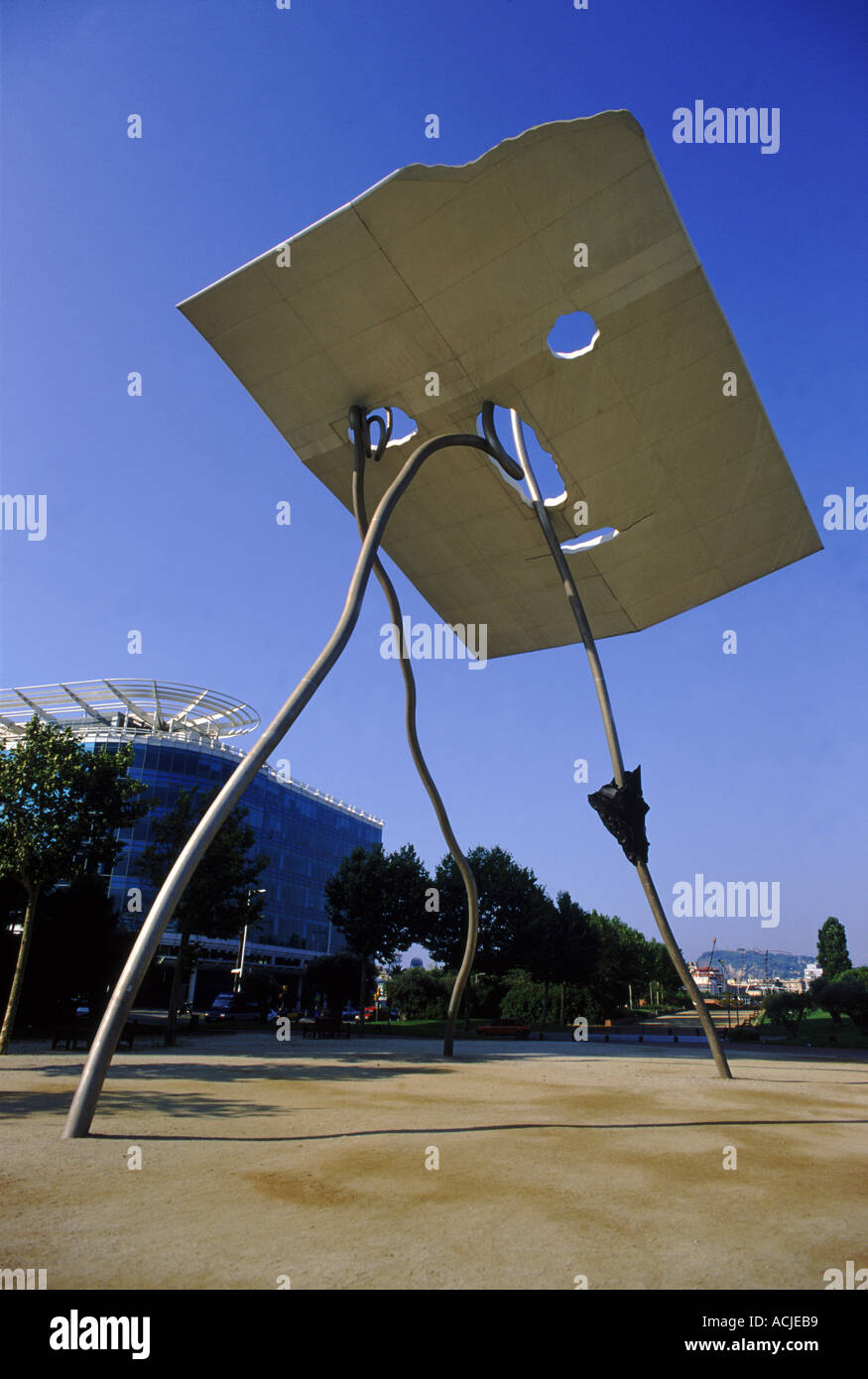 Sculpture monument to volunteers in Olympic village Barcelona Spain Europe - Stock Image