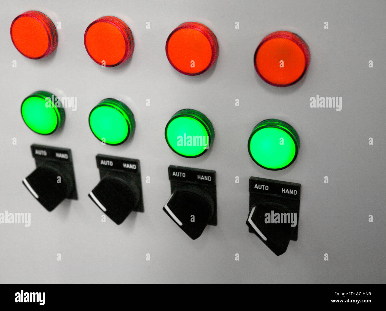 Computer room switch gear - electrical control panel with Red and ...