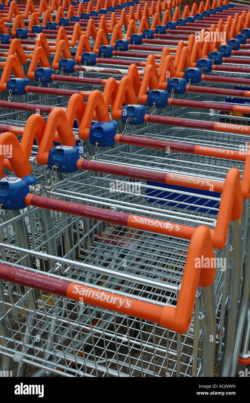 rows of Sainsburys shopping trolleys - Stock Image