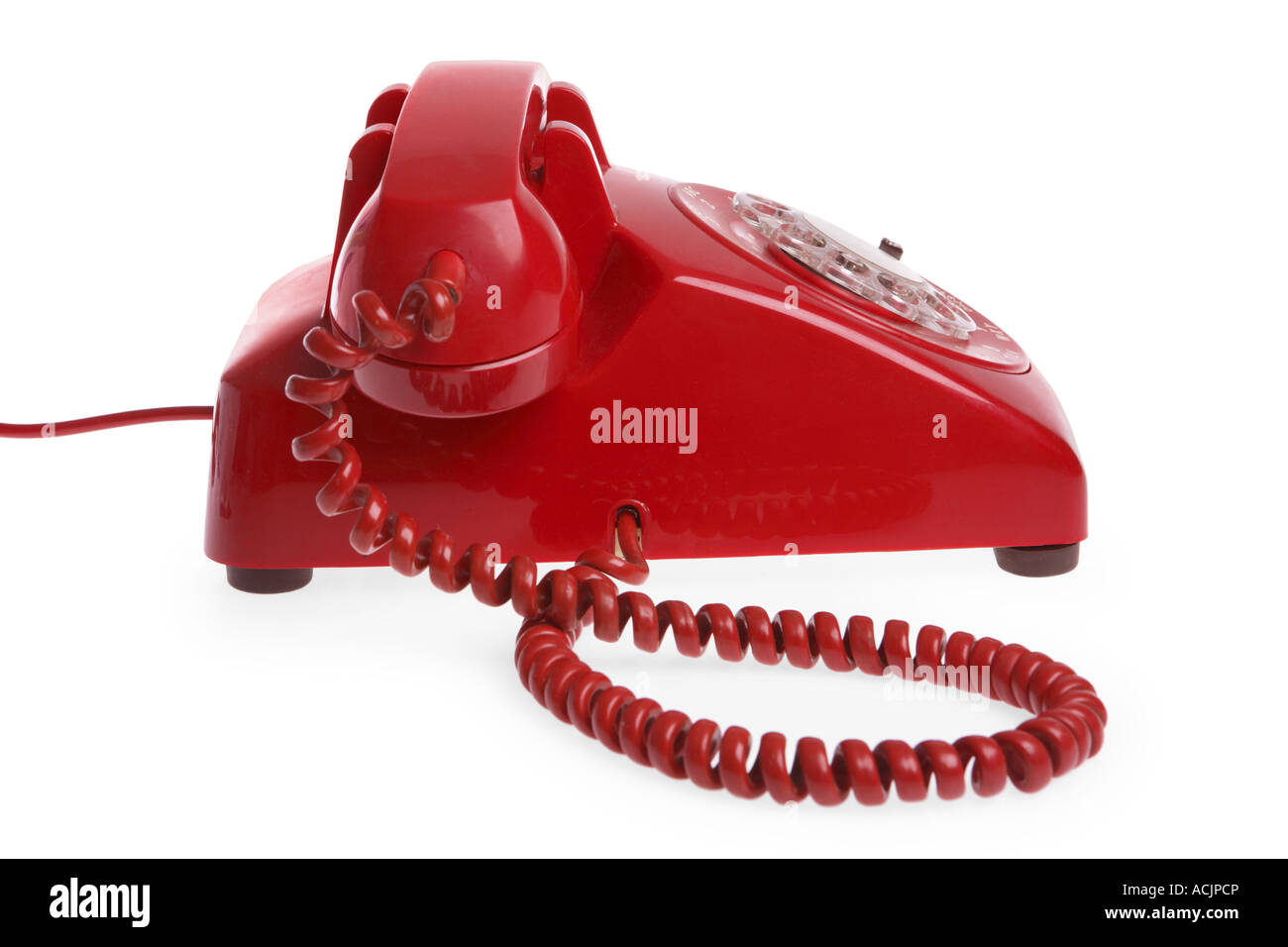Red Telephone cut out on white background - Stock Image