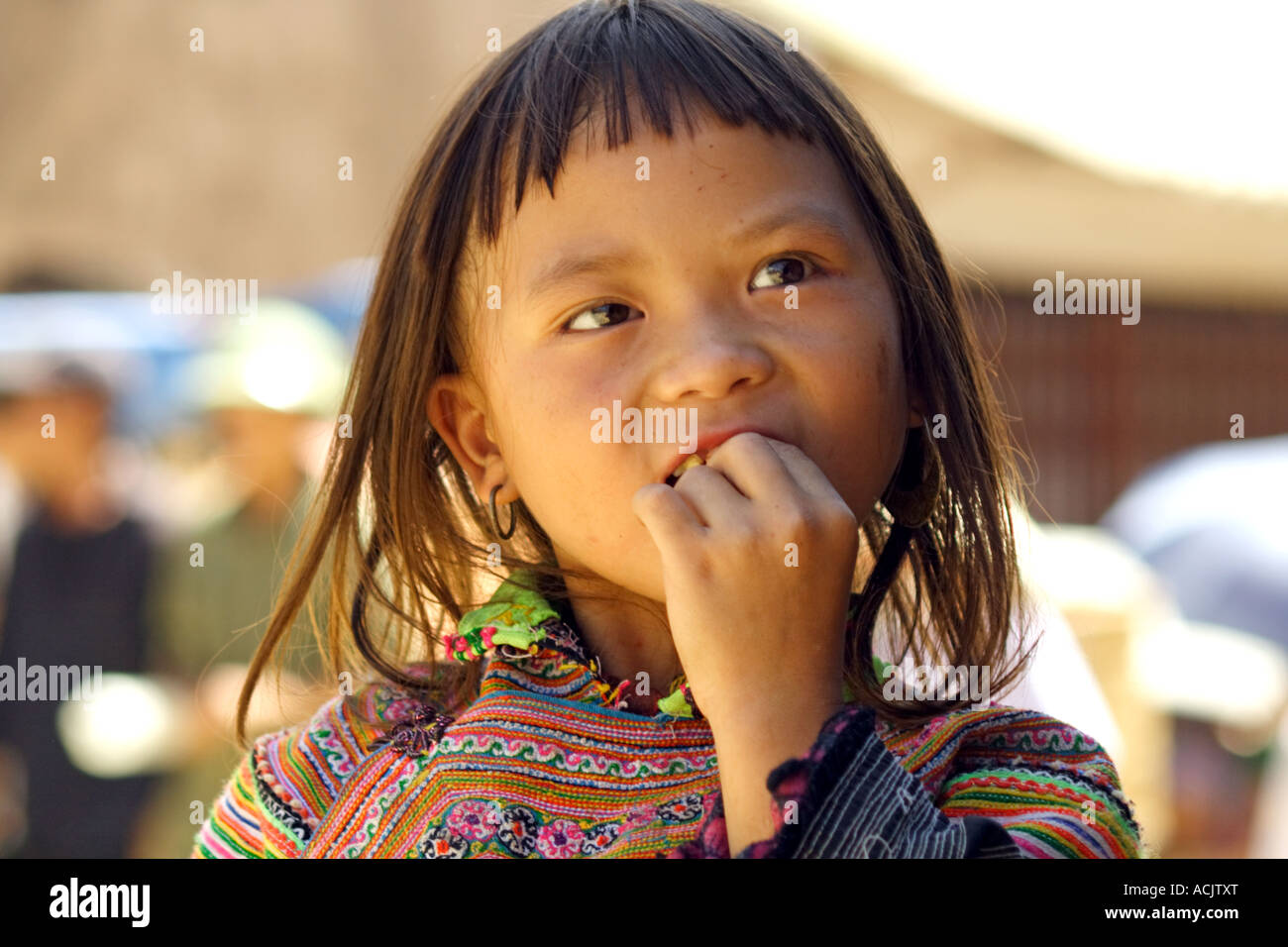 Young girl at the market in Bacha, Vietnam Stock Photo