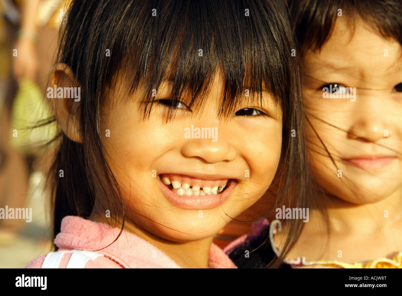 Portrait of a cute girl at the market of Nha Trang, Vietnam Stock Photo