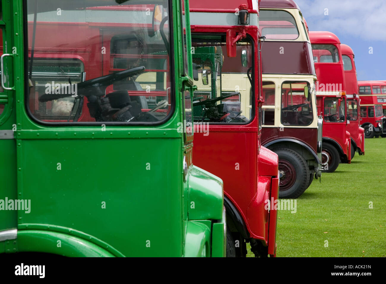 Vintage double decker buses in a row - Stock Image