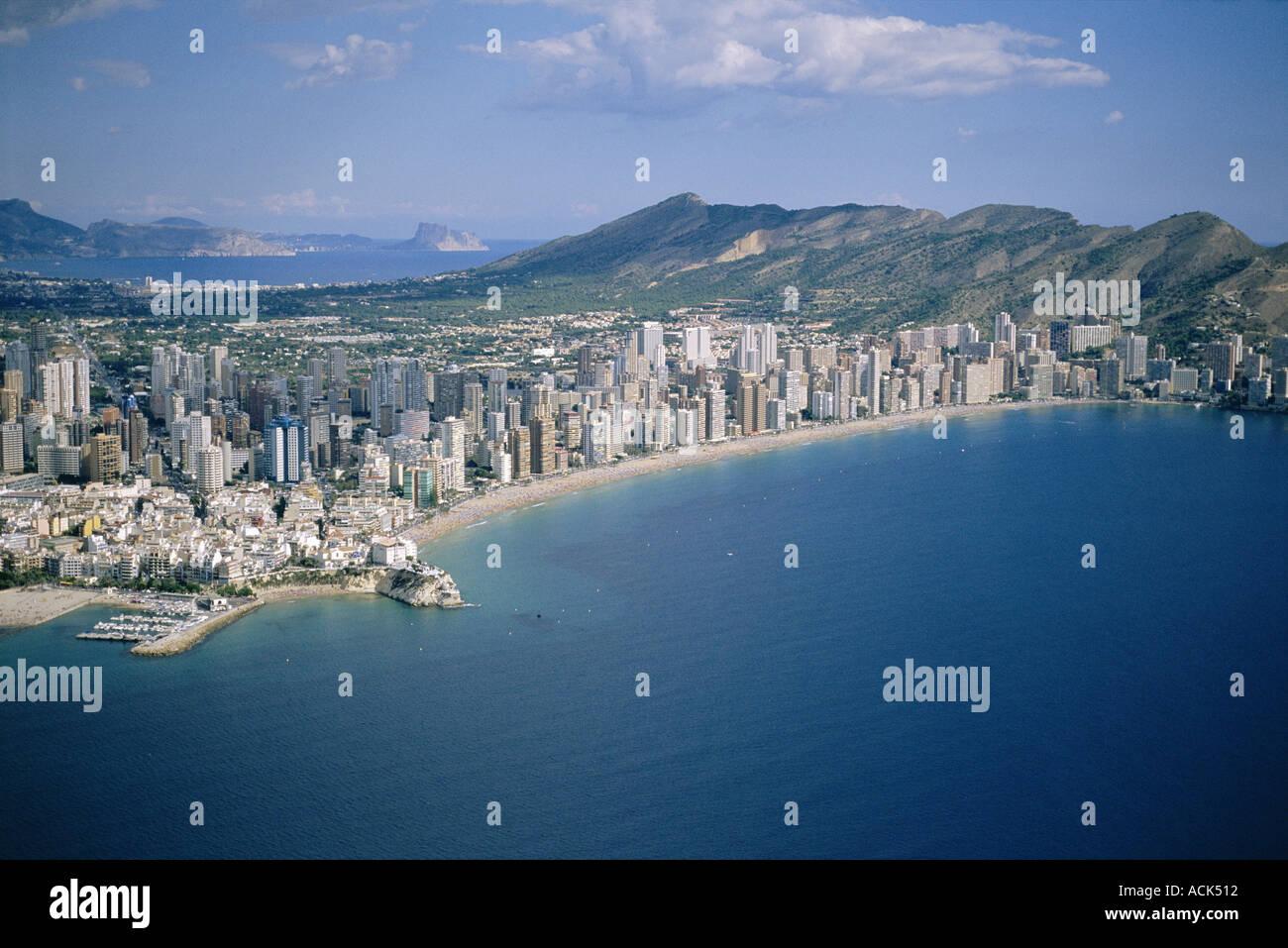 Benidorm town and beach Spain coastal development - Stock Image