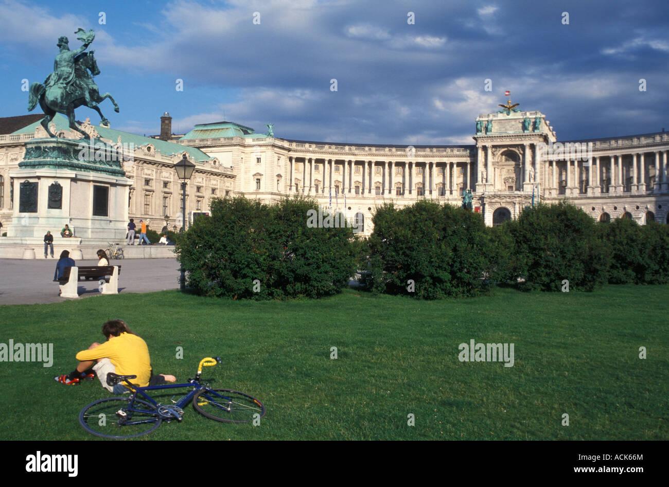 Heldenplatz place in front of Neue Hofburg building in Vienna Austria - Stock Image