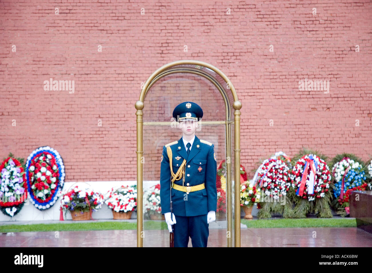 Kremlin guard in Alexander Park Moscow Russia - Stock Image