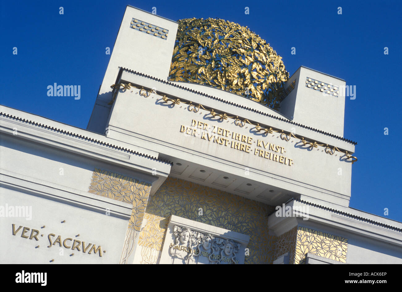 Decorated frontage with golden dome of Secession building architect Josef Maria Olbrich in Vienna Austria - Stock Image