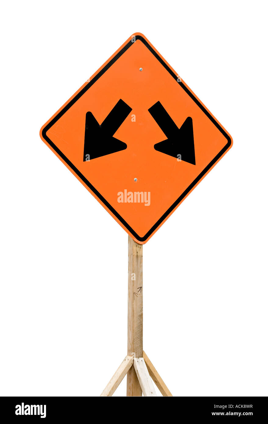 road sign with two arrows pointing down to opposite sides stock