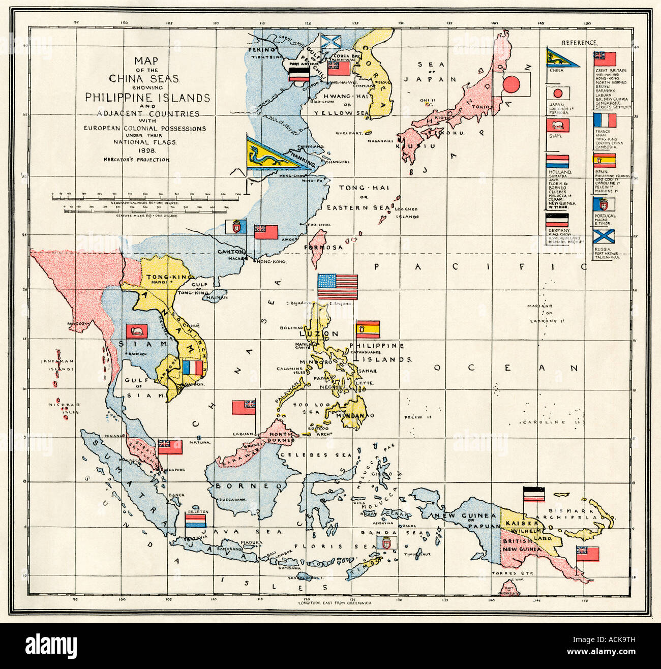 Map of the China Sea, the Philippines, and European colonies in the southeast Asia region 1898. Color lithograph - Stock Image