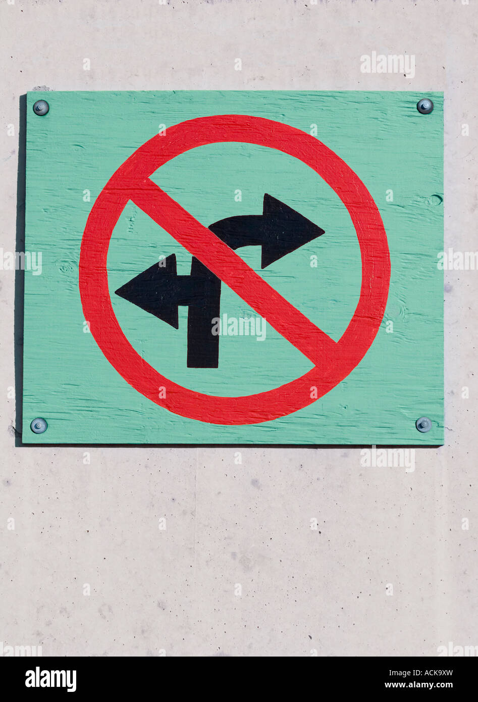 Wooden no left turn or right turn ahead sign Stock Photo