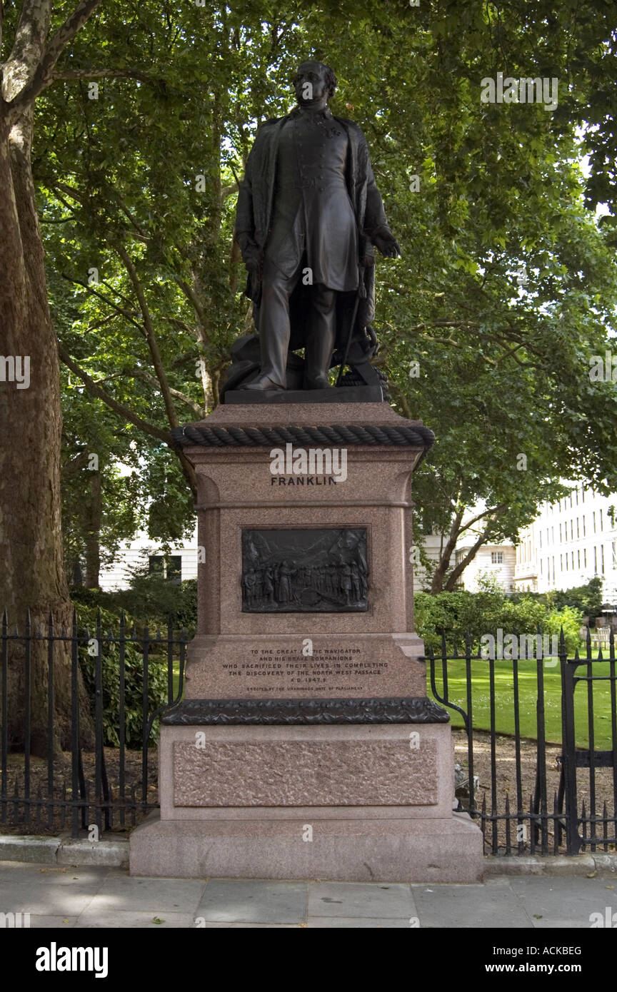 Statue of Sir John Franklin, London, England - Stock Image