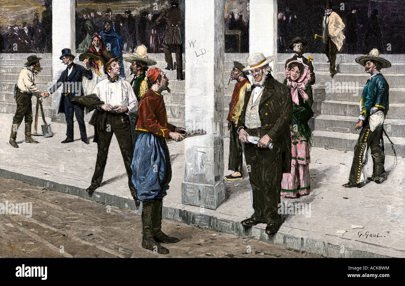 Hucksters in front of the Empire Saloon in San Francisco during the Gold Rush 1850s. Hand-colored woodcut - Stock Image