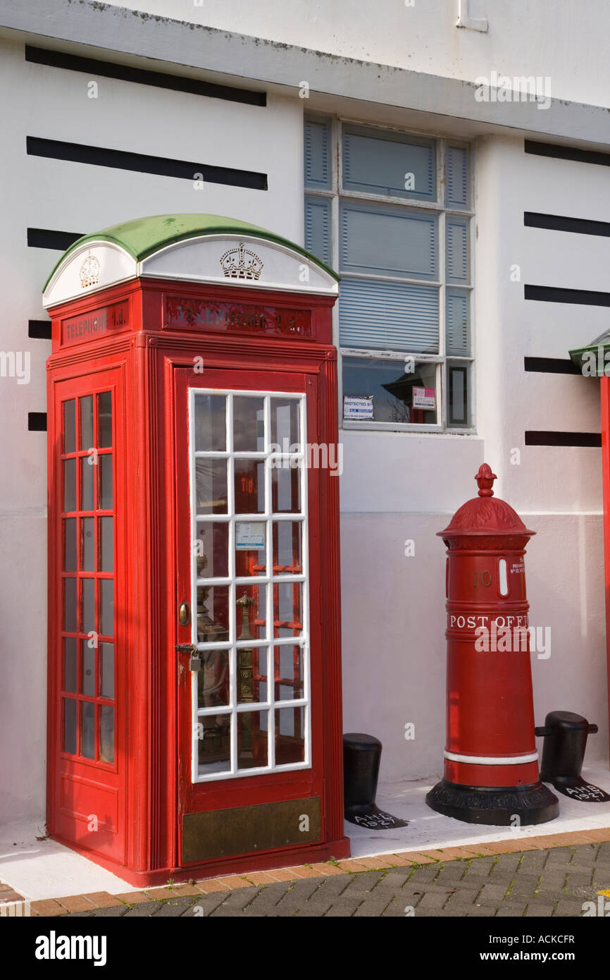 Old British red telephone box and post box outside Jackson s Muzeum Devonport North Shore Auckland North Island - Stock Image