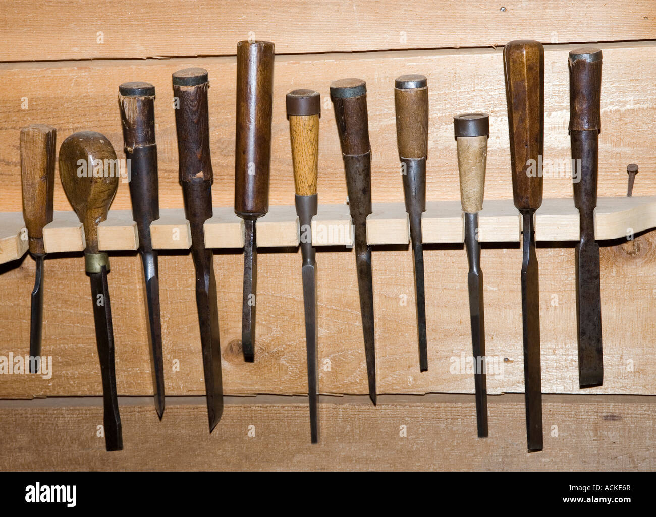 Traditional Old Woodworking Tools Chisels In Rack Canada Stock Photo