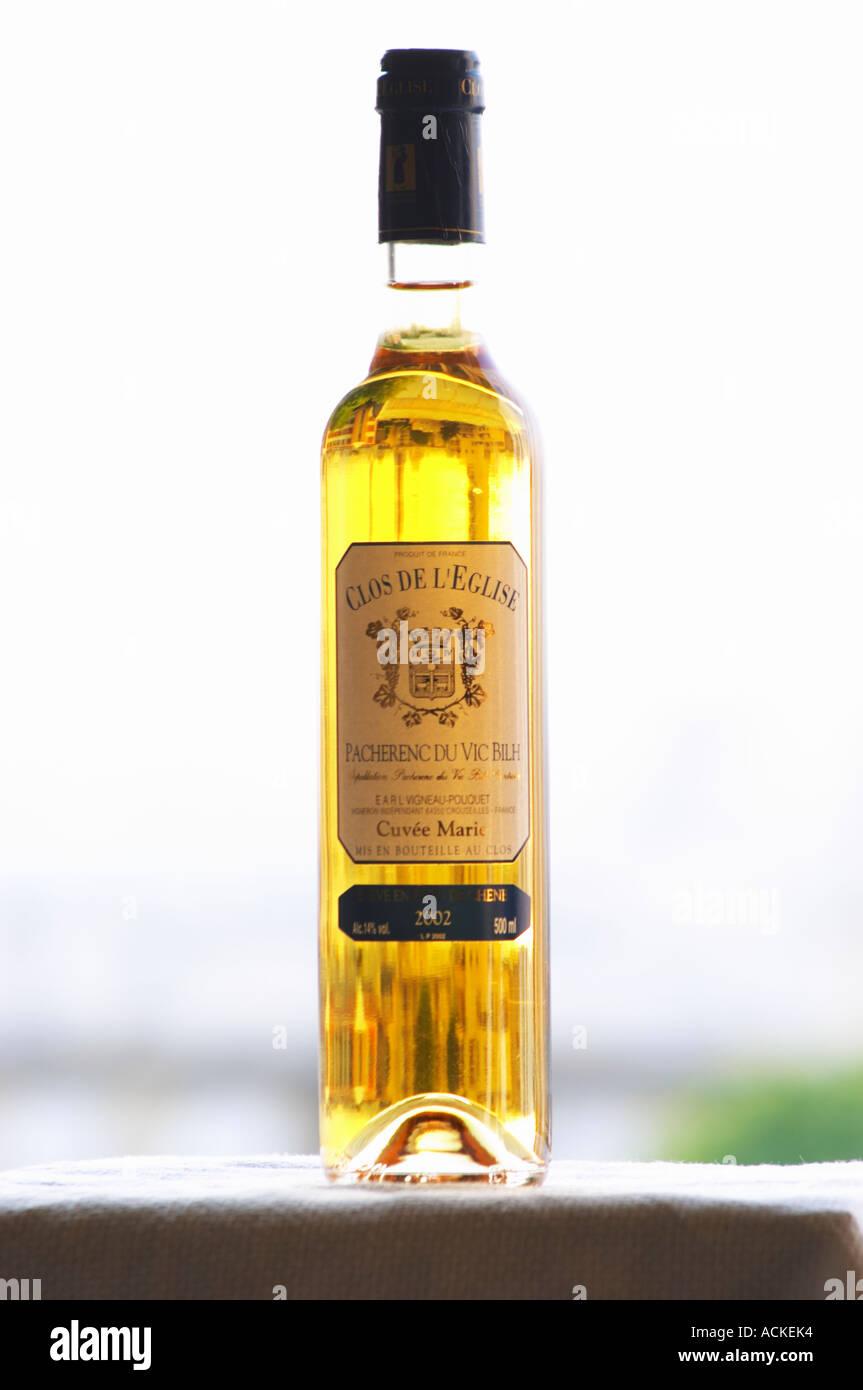 Bottle of Clos de l'Eglise Pacherenc du Vic Bilh Cuvee Marie Vigneau Pouquet Madiran France Stock Photo
